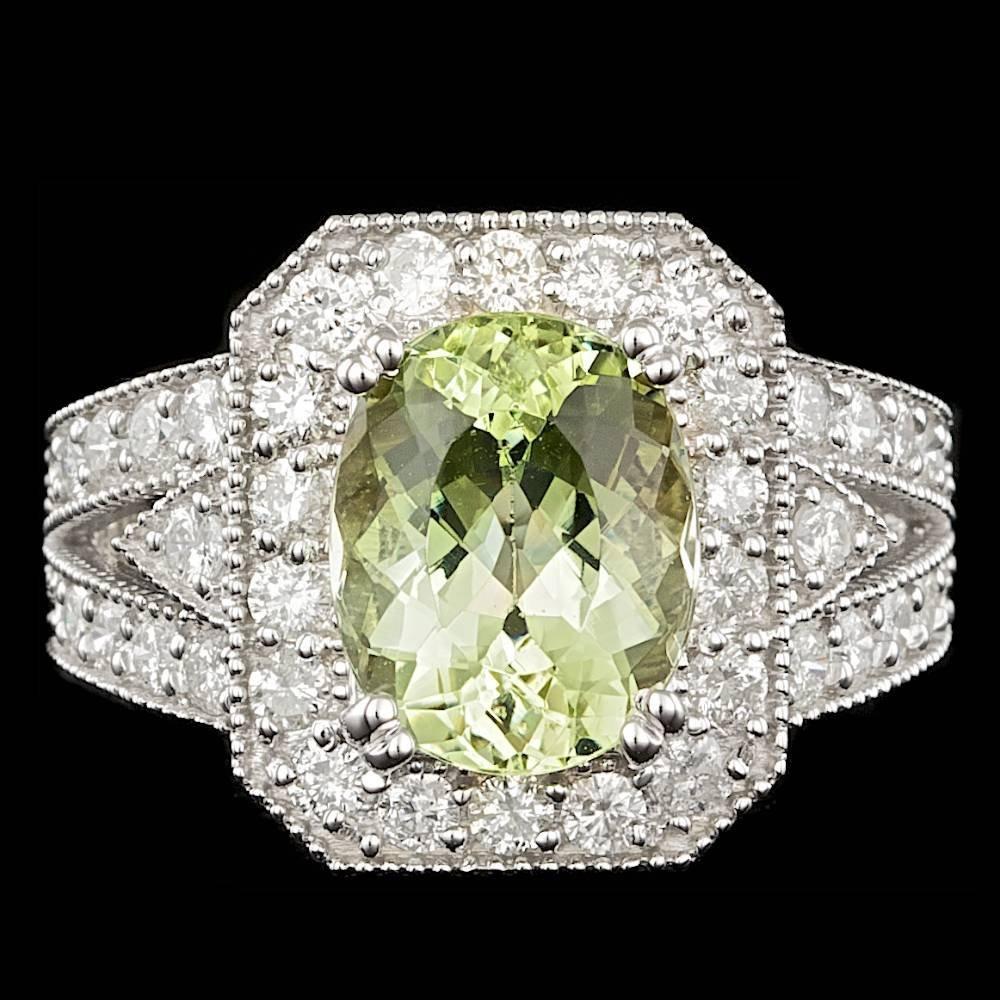 14k White Gold 3.25ct Beryl 1.30ct Diamond Ring