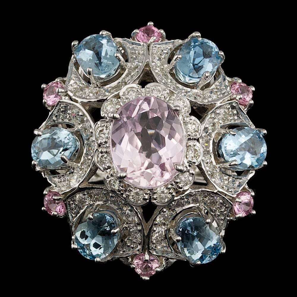 14k White Gold 3.50ct Kunzite 1.25ct Diamond Ring