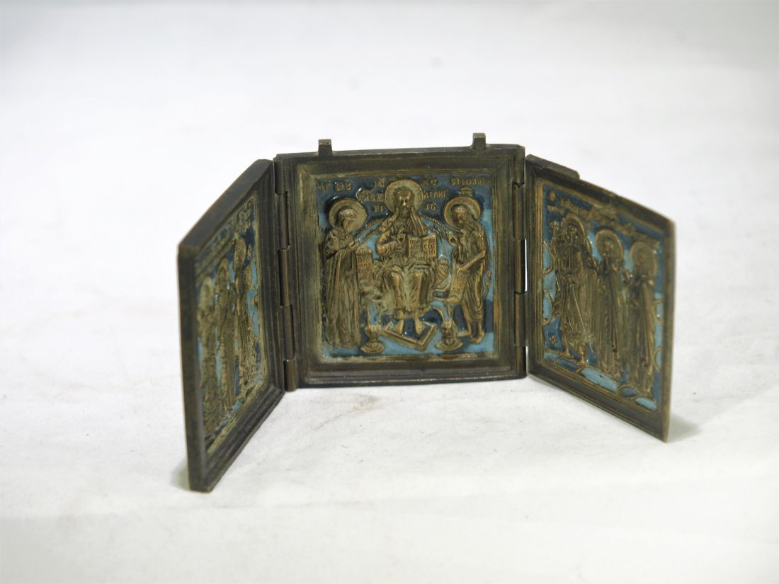 Antique Russian enamel bronze triptych icon