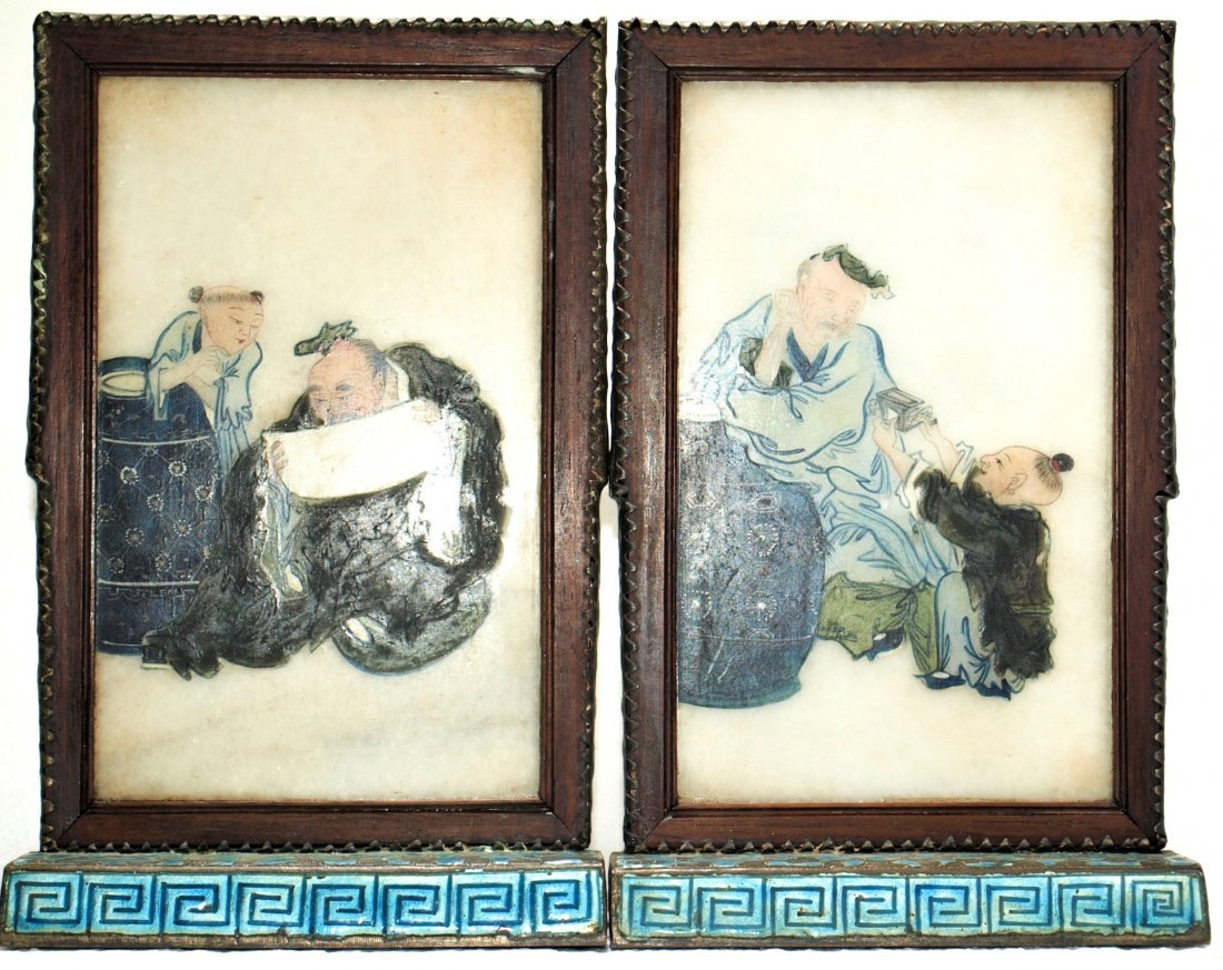 Pr. Antique Chinese painted marble plaques