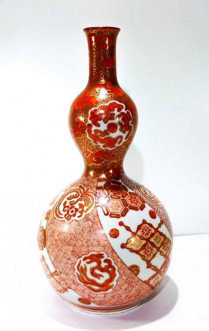 Antique Japanese kutani porcelain double gourd vase - 2