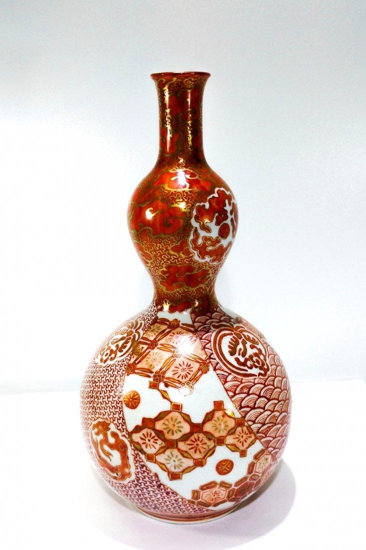 Antique Japanese kutani porcelain double gourd vase - 3