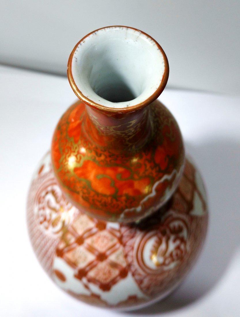 Antique Japanese kutani porcelain double gourd vase - 4