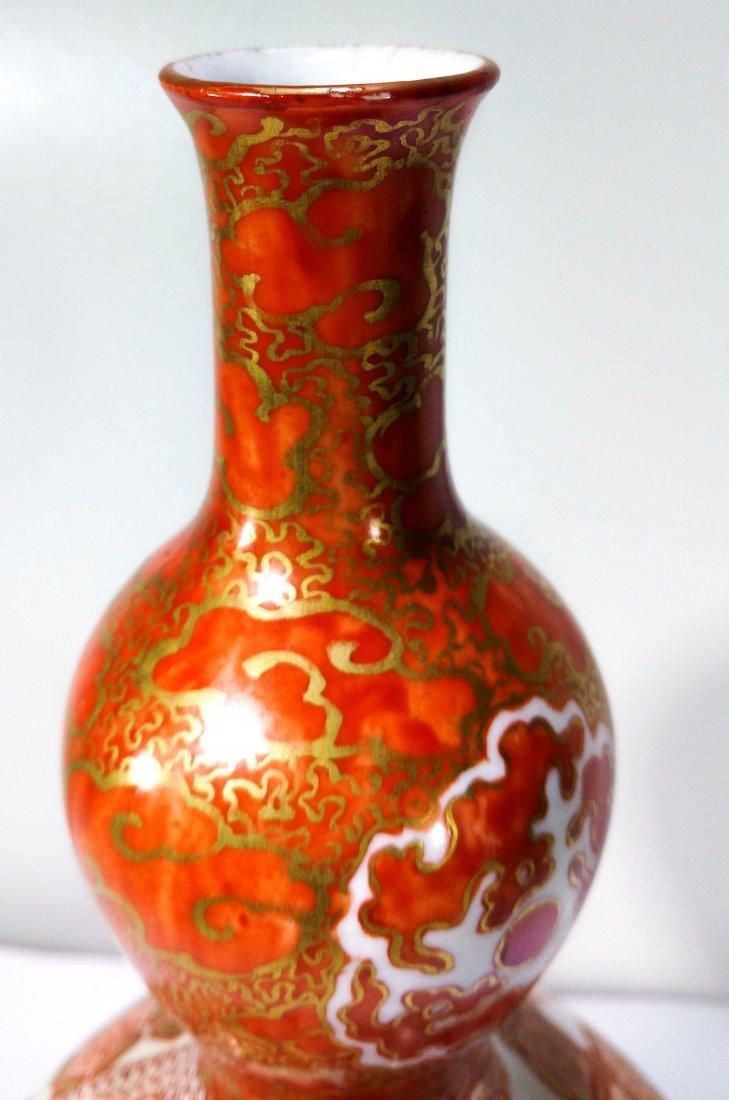 Antique Japanese kutani porcelain double gourd vase - 5