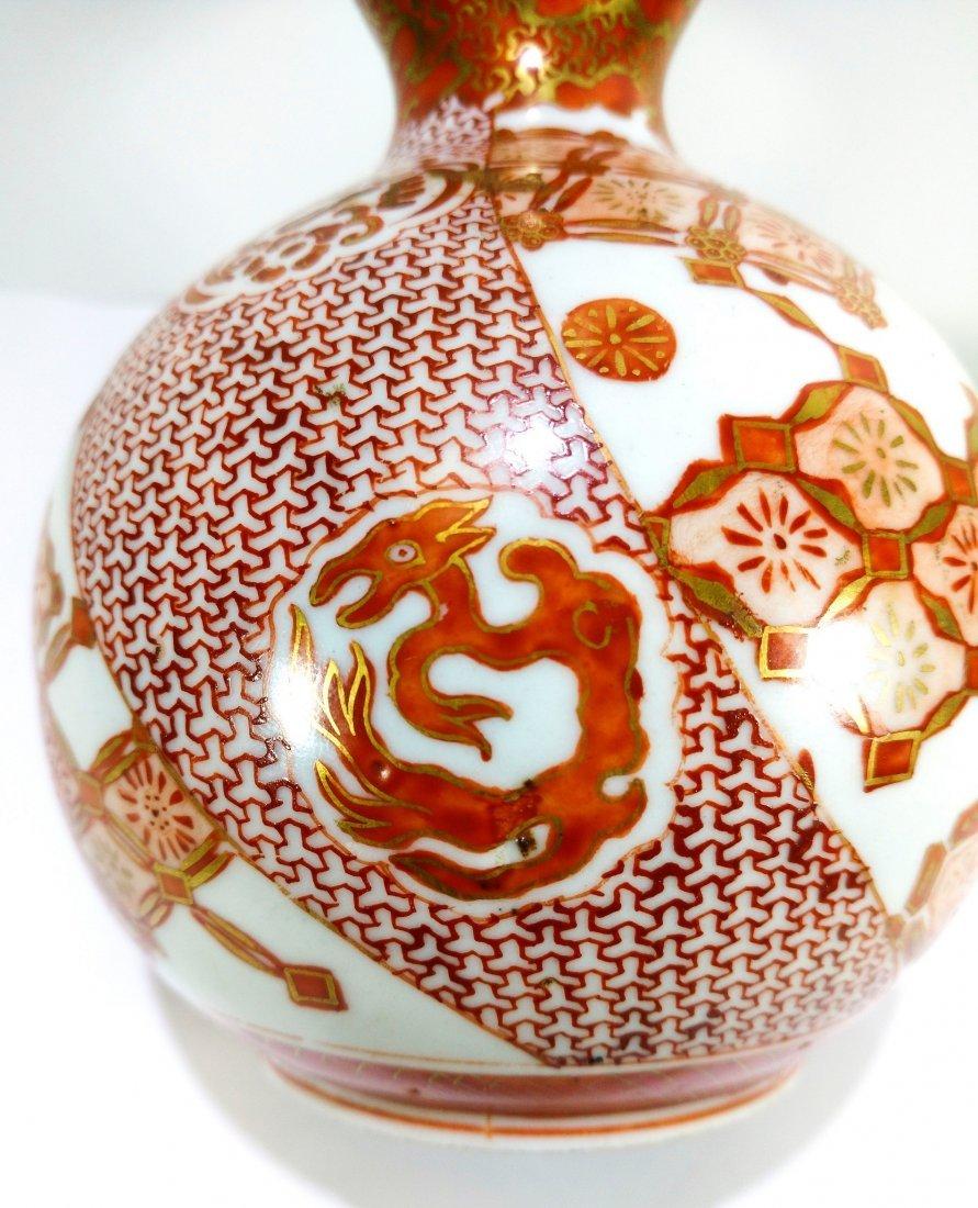 Antique Japanese kutani porcelain double gourd vase - 7