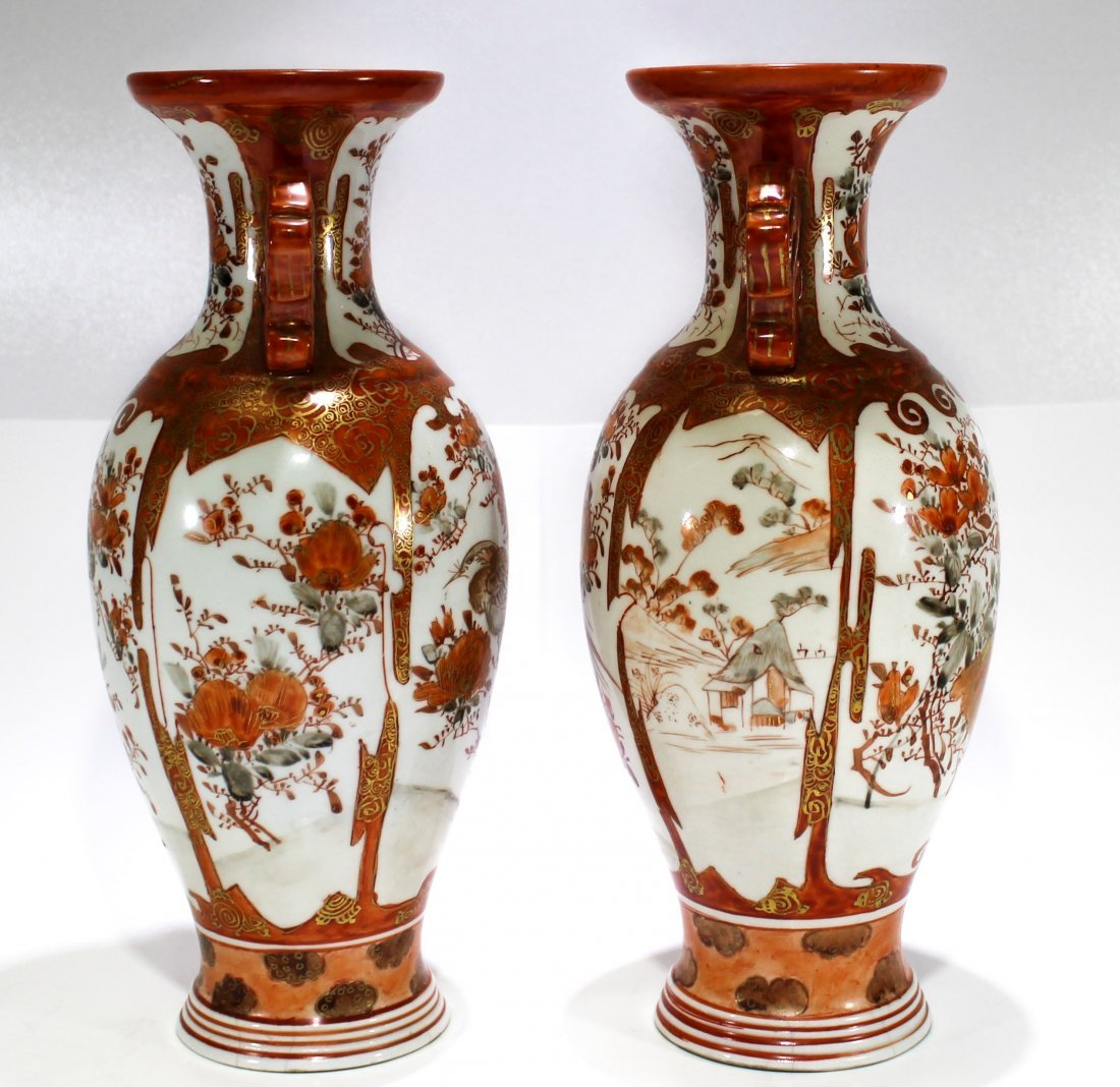 Pr. Antique Japanese kutani porcelain handled vases - 2