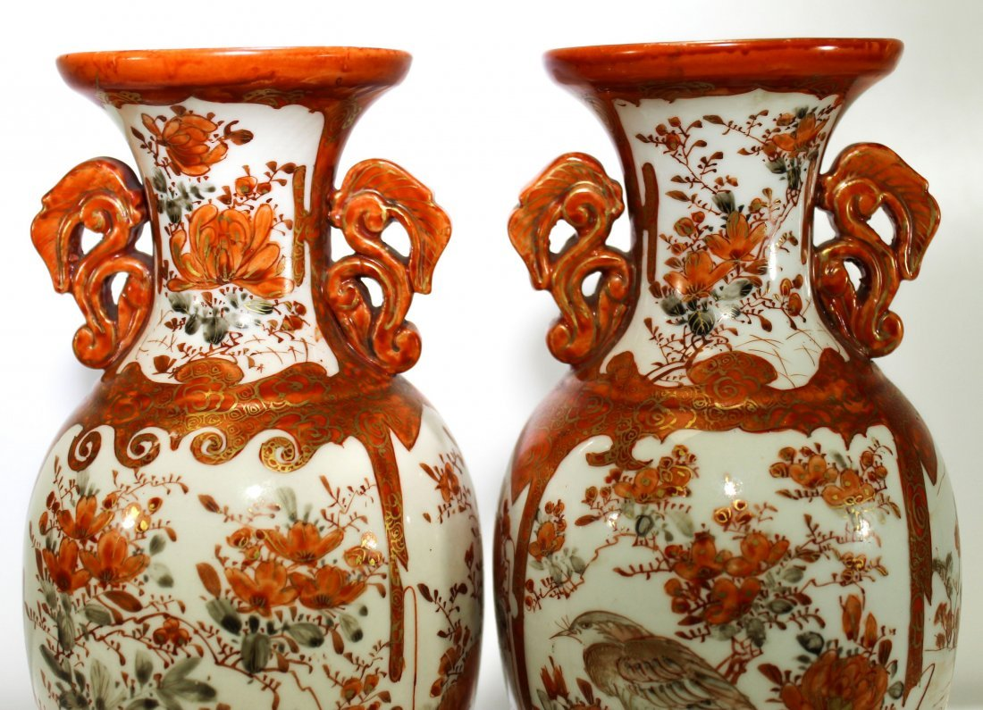 Pr. Antique Japanese kutani porcelain handled vases - 3