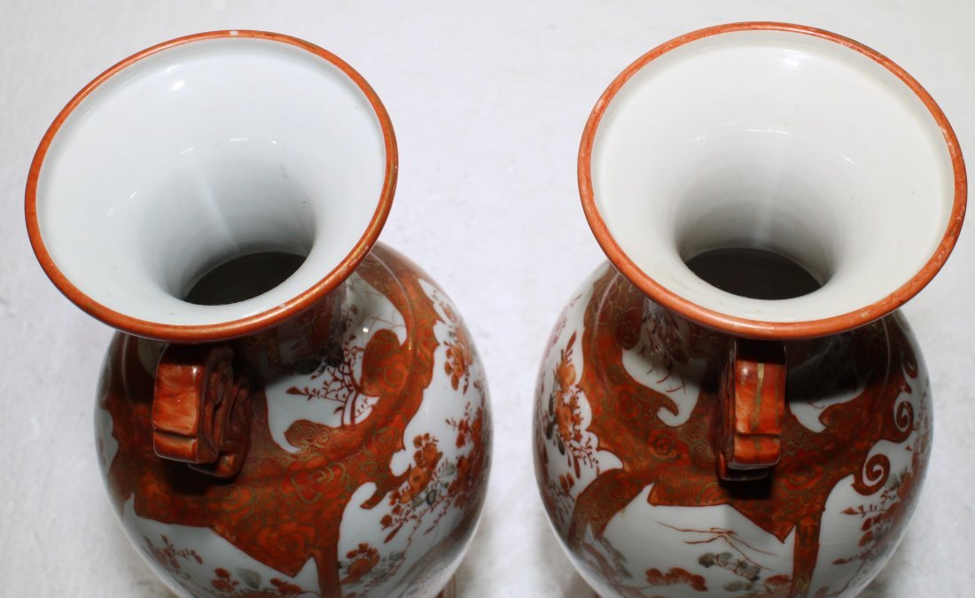 Pr. Antique Japanese kutani porcelain handled vases - 4