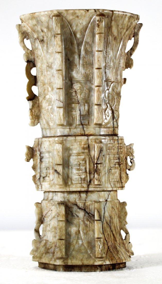 RARE antique Chinese chicken bone jade vase
