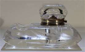 Vintage art deco crystal & silver inkwell paperweight
