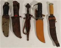 4 Antique  vintage sheath knives