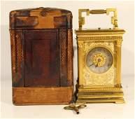 Antique EM&Co French gilt bronze carriage clock w/case