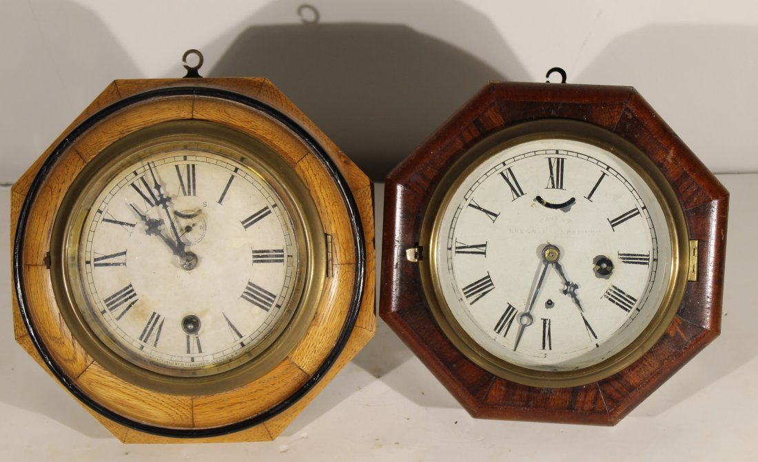 (2) Antique wood case wall clocks