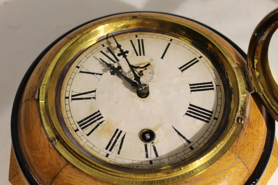 (2) Antique wood case wall clocks - 6