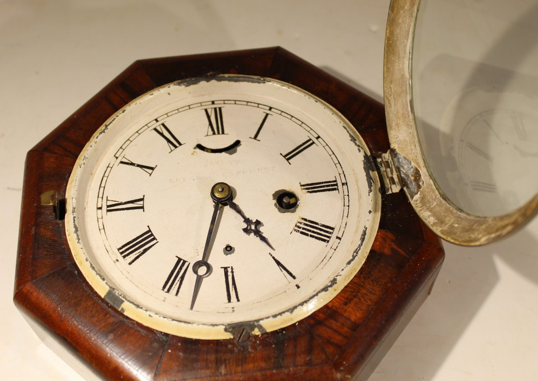 (2) Antique wood case wall clocks - 7