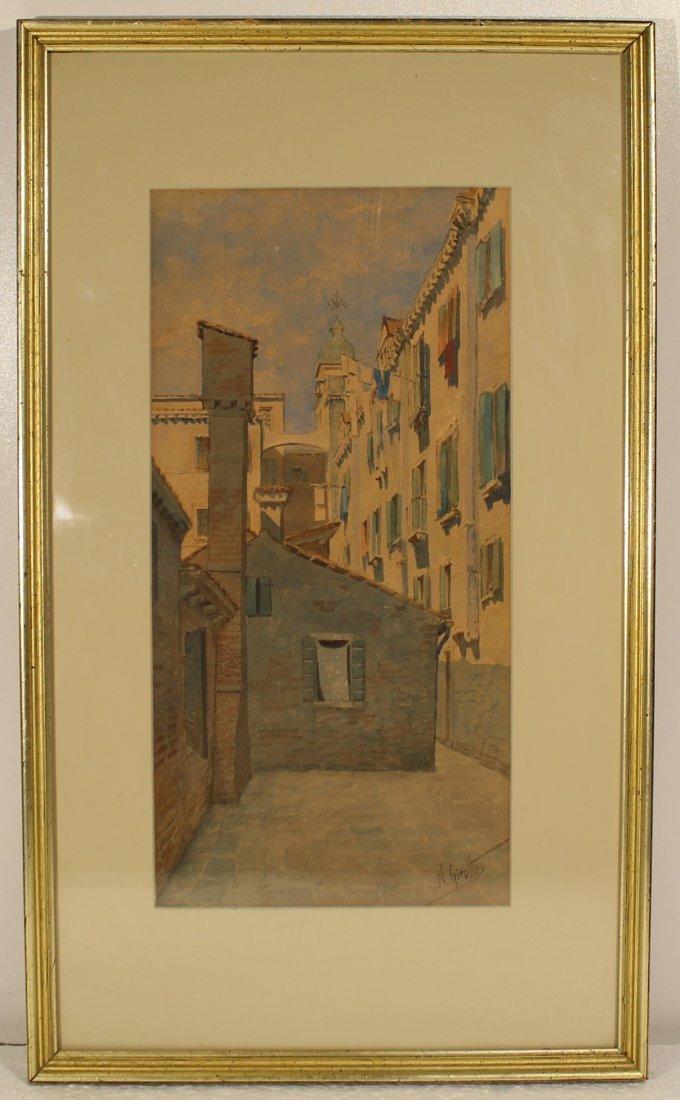 Original American or European cityscape watercolor - N
