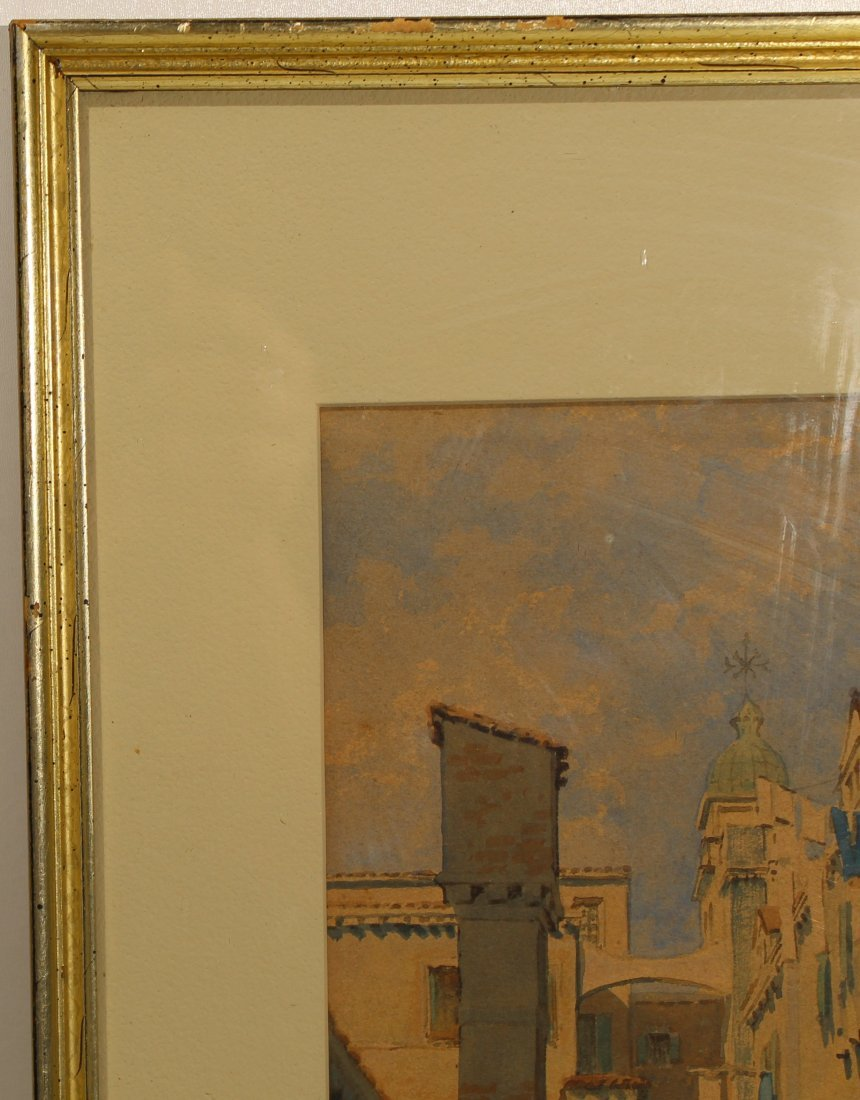 Original American or European cityscape watercolor - N - 3