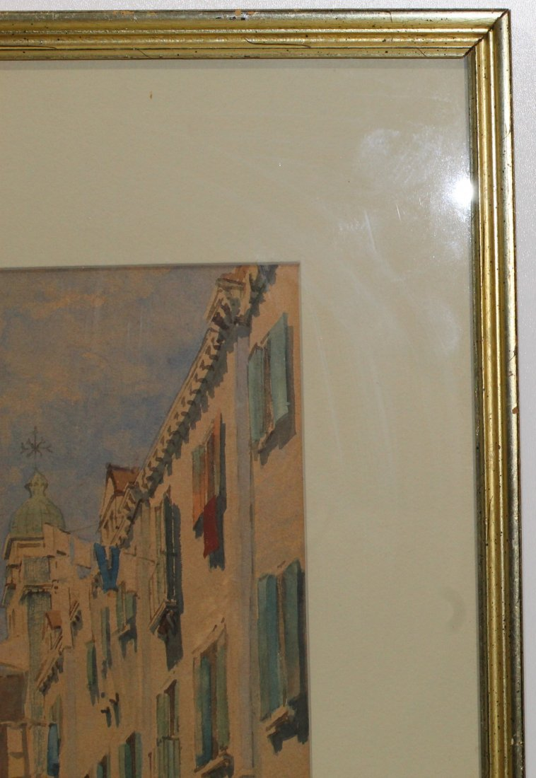Original American or European cityscape watercolor - N - 4
