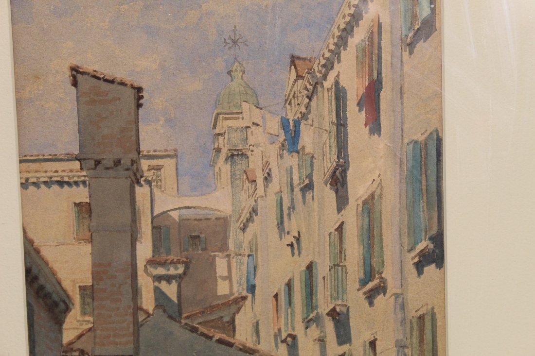 Original American or European cityscape watercolor - N - 7