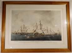 19thcAntique English nautical aquatint engravingprint