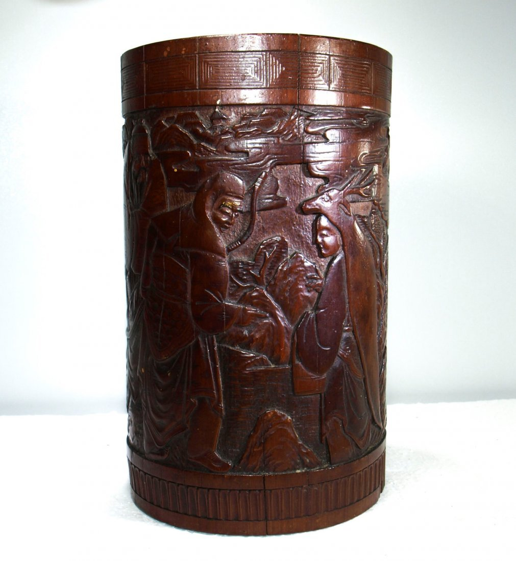 Finely carved antique bamboo brush pot of scholars