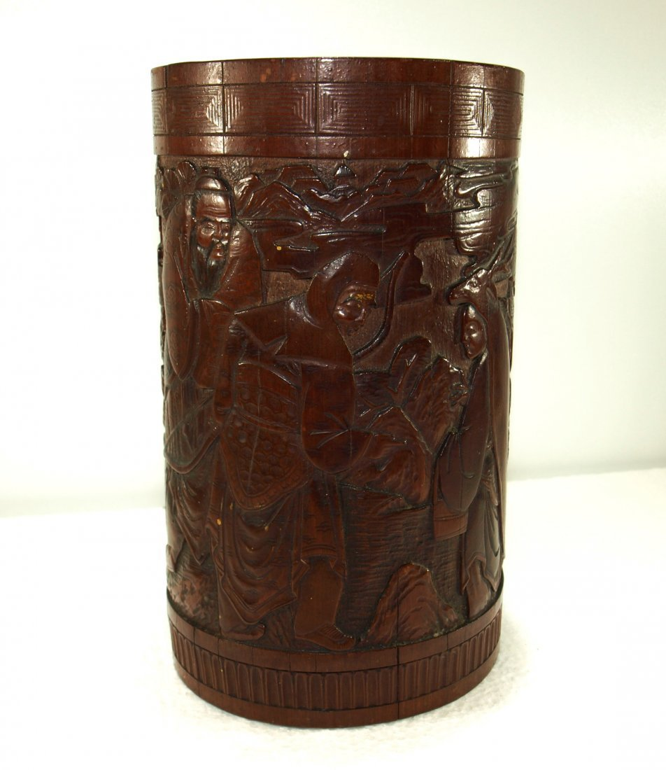 Finely carved antique bamboo brush pot of scholars - 2