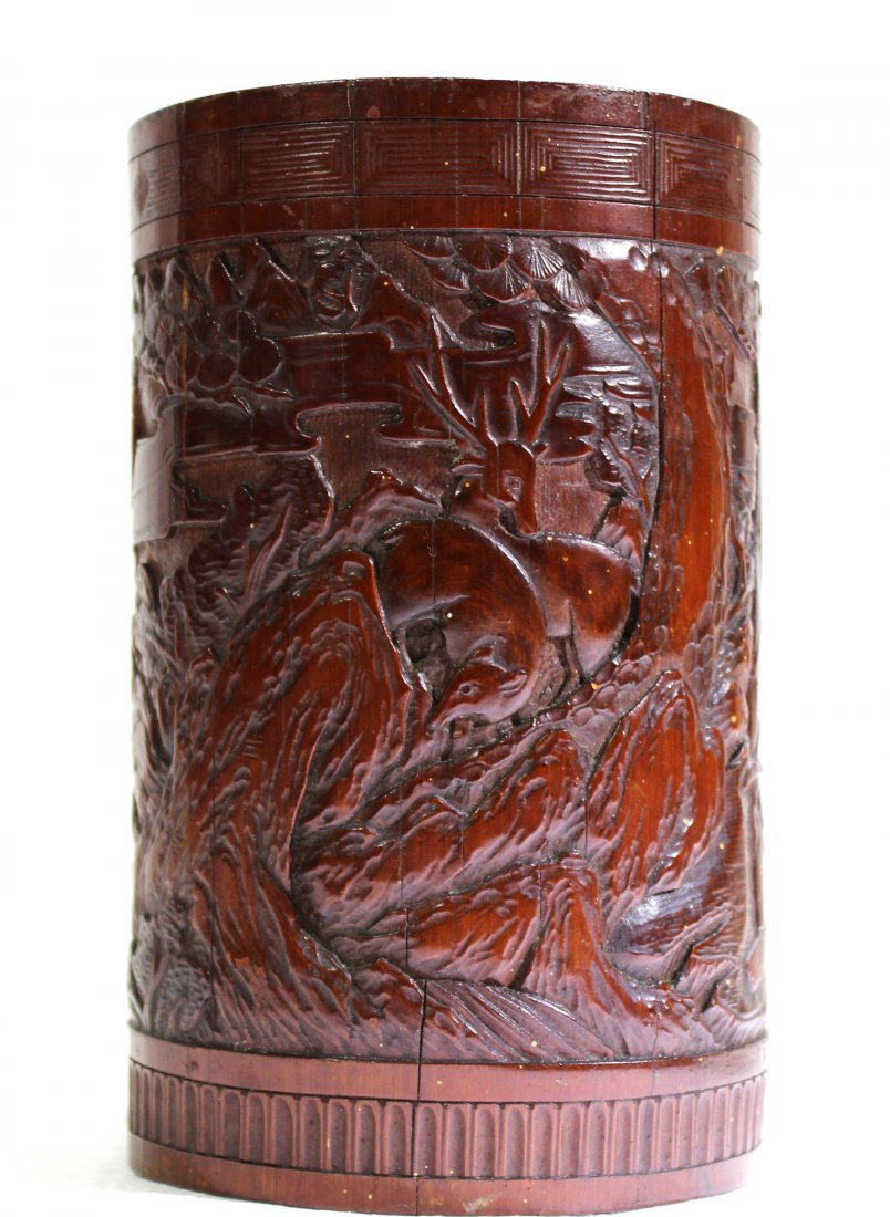 Finely carved antique bamboo brush pot of scholars - 5