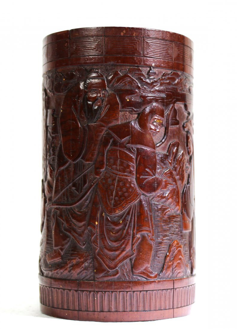Finely carved antique bamboo brush pot of scholars - 6