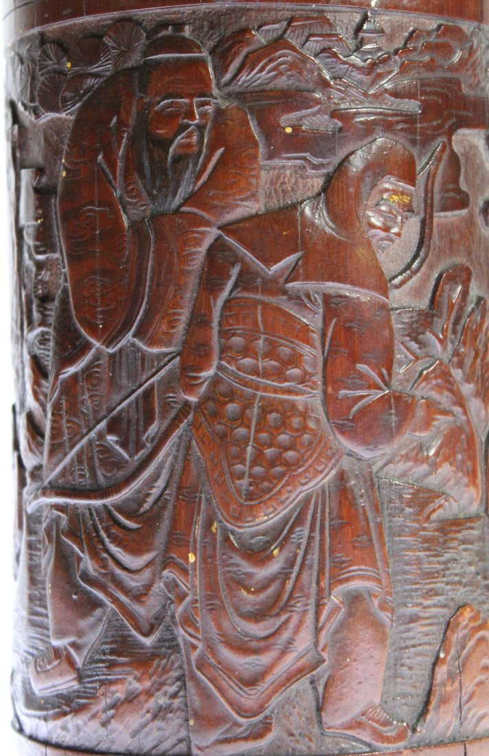 Finely carved antique bamboo brush pot of scholars - 9