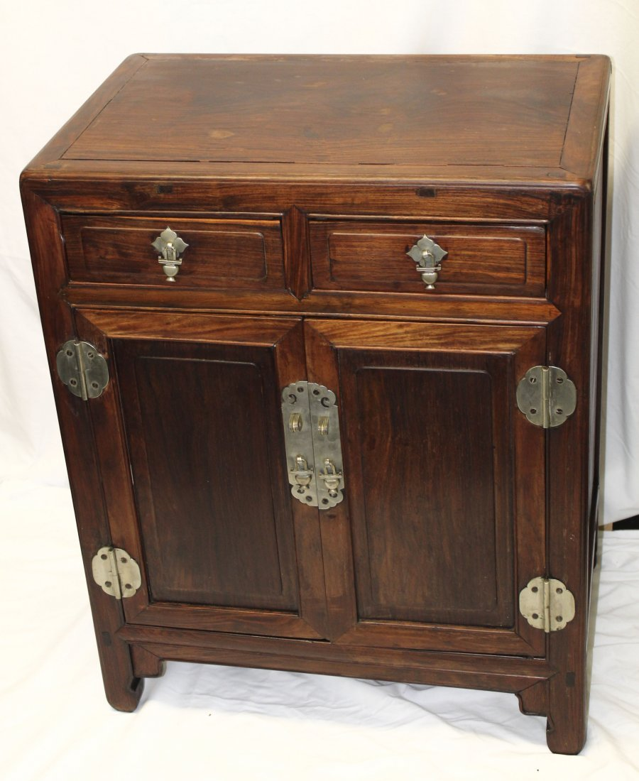 Antique Chinese Huanghuali wood round corner cabinet