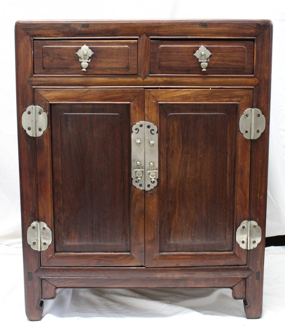 Antique Chinese Huanghuali wood round corner cabinet - 2