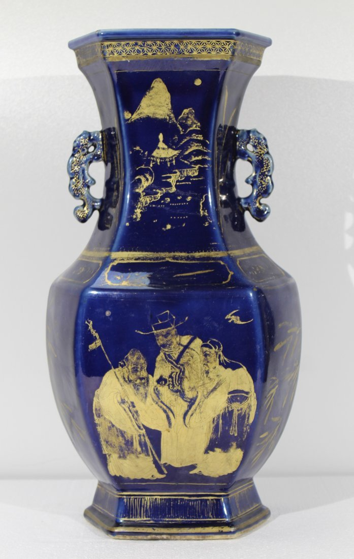 LARGE Antique Chinese gilt blue ground vase 18th c