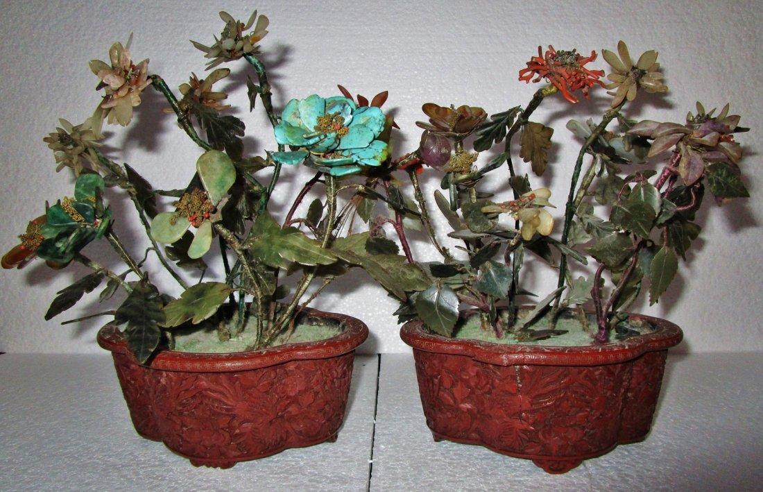 Pair Chinese Cinnabar planter and Jade plant