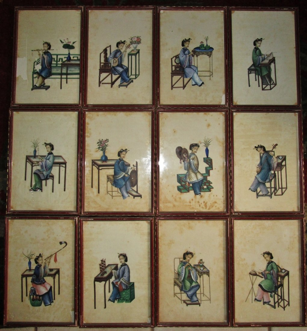 Set of 12 Chinese Pith paintings - style of SunQua