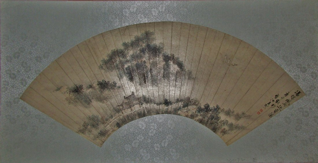 Chinese Fan Painting Landscape  dated 1800
