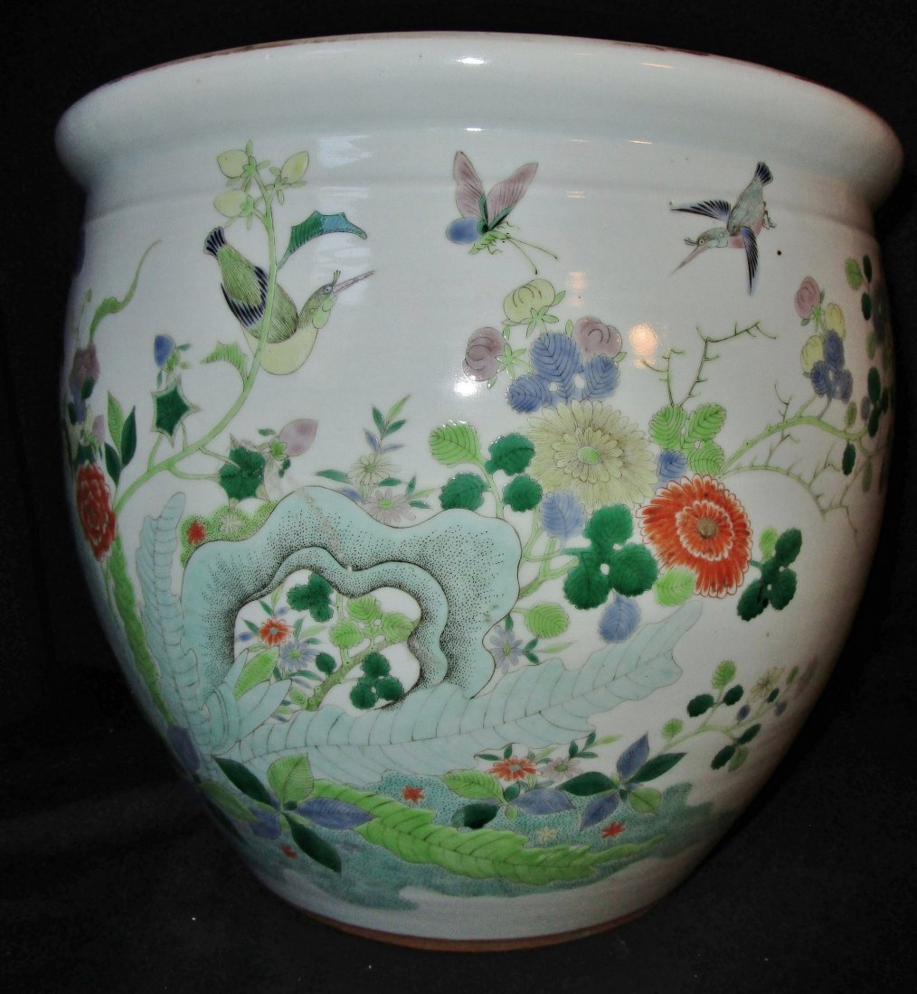 RARE 19th c. Chinese famille verte porcelain fishbowl