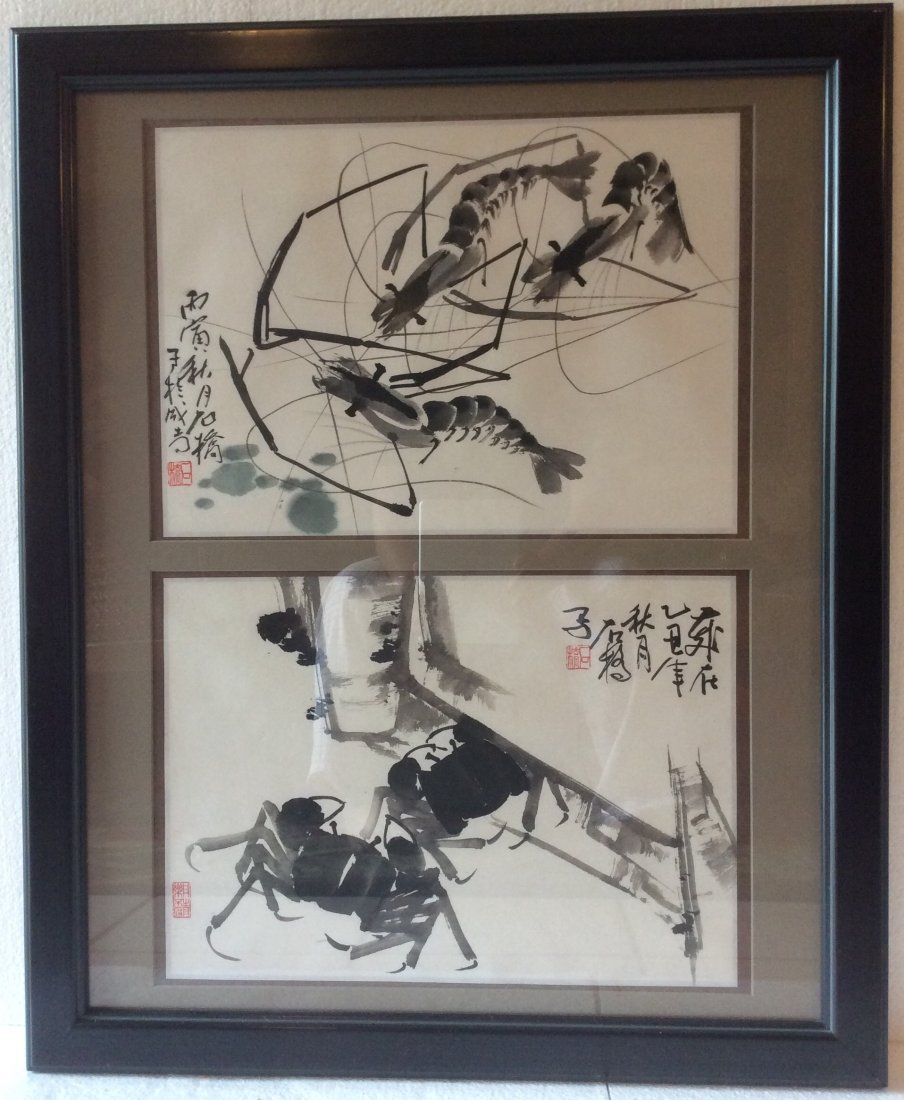 Chinese brush paintings of crabs and shrimp