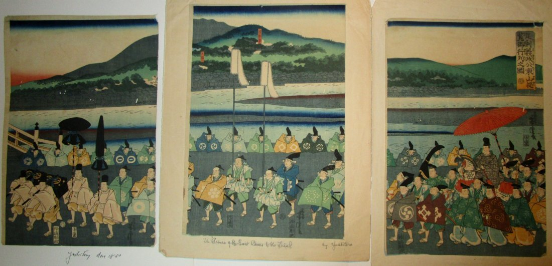 Japanese Woodblock Print  Triptych - Yoshitora