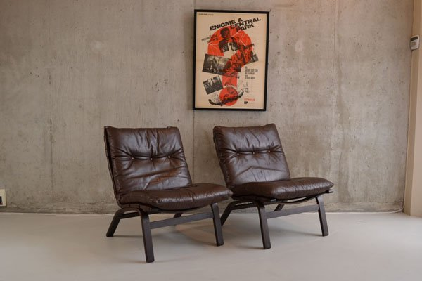 Pair Farstrup of Denmark leather chairs