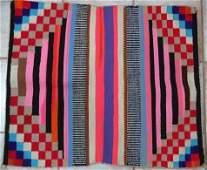 Vintage German Town Navajo Neon Wool Rug