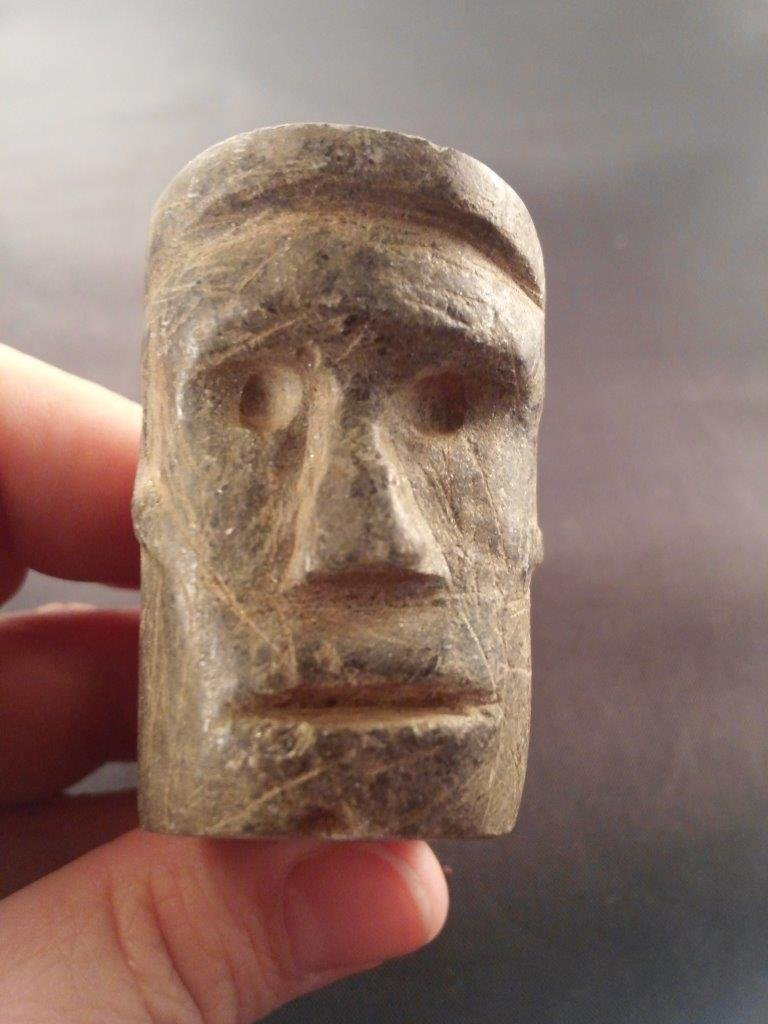 HUMAN FACE EFFIGY PIPE - 2