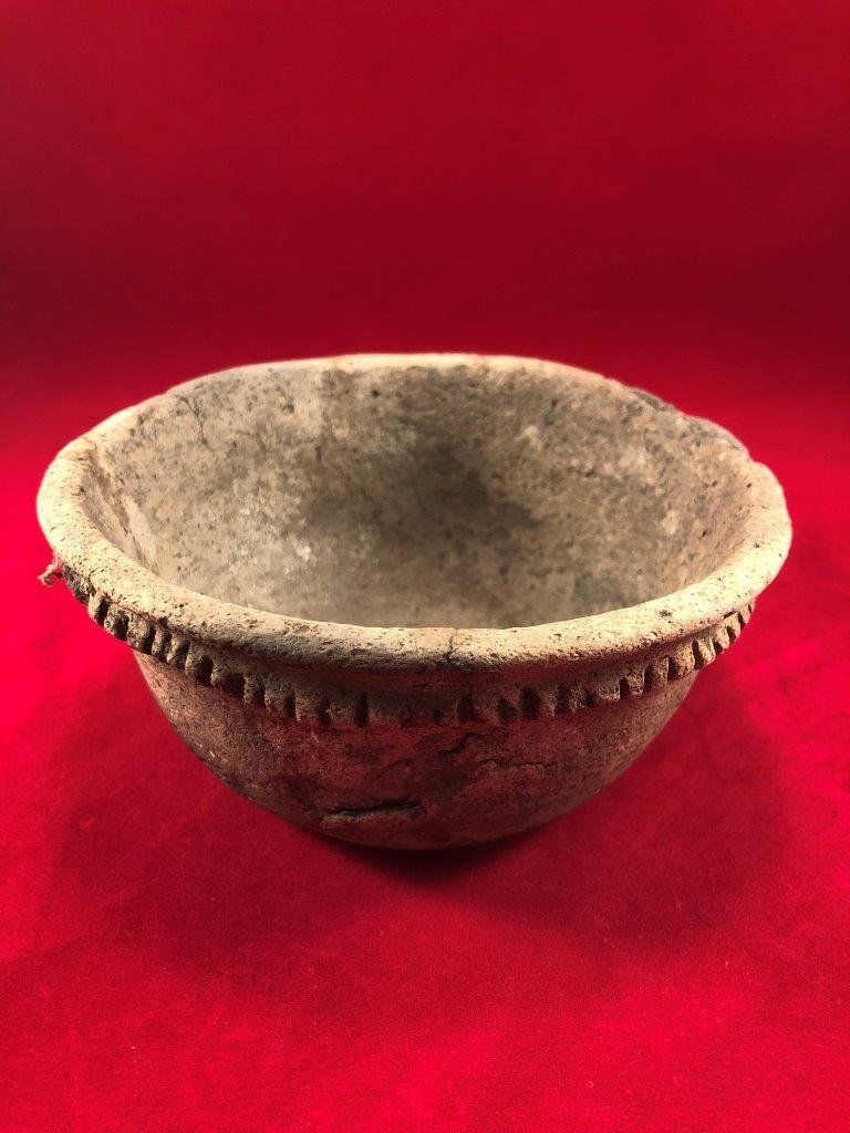 MISSISSIPPIAN PIE CRUST BOWL INDIAN ARTIFACT ARROWHEAD