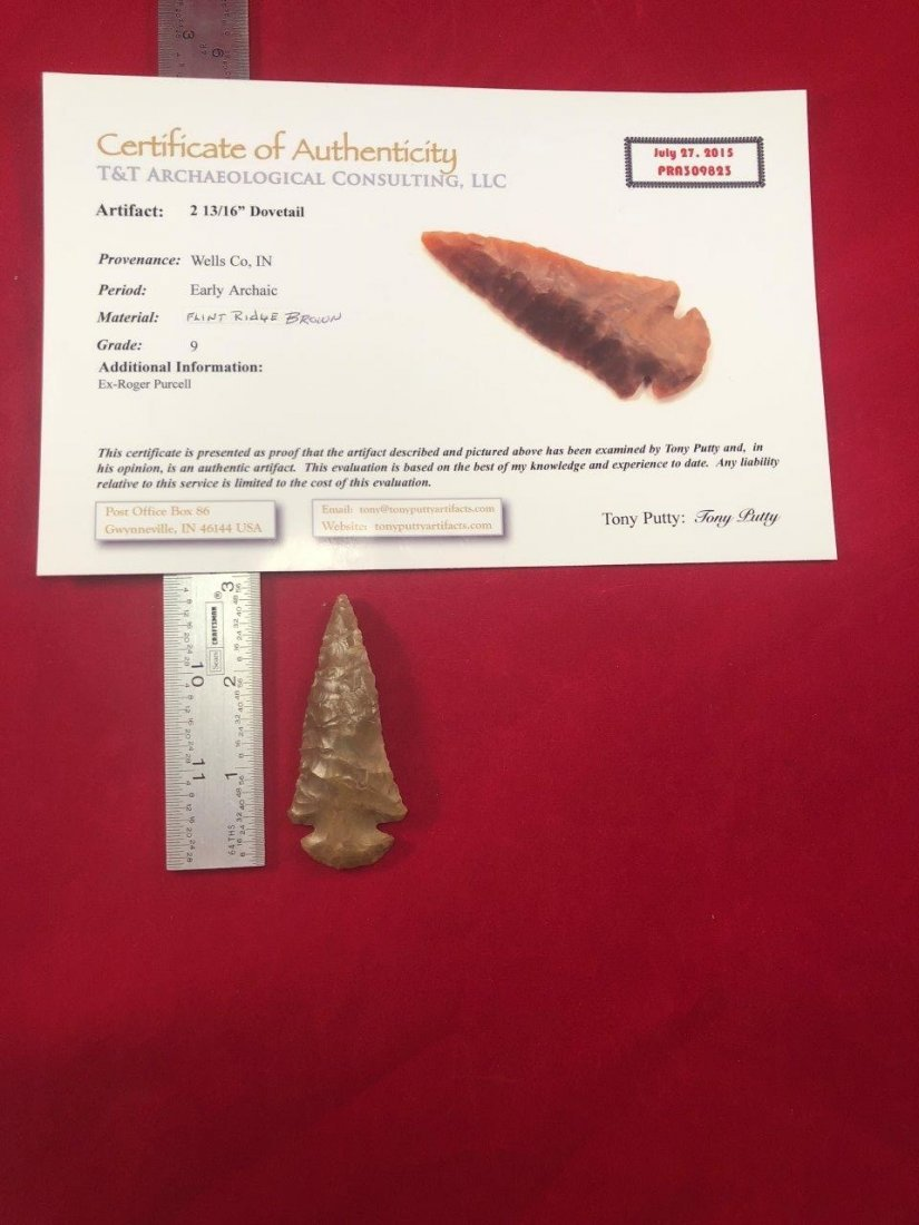 DOVETAIL   INDIAN ARTIFACT ARROWHEAD WITH COA