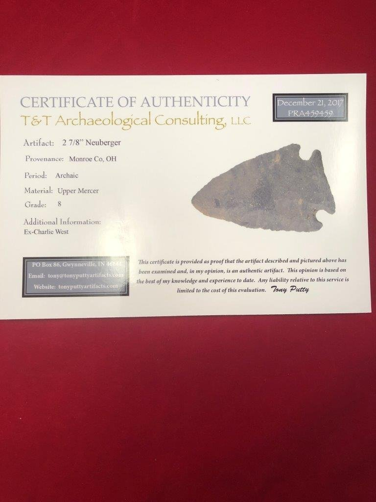 NEUBERGER   INDIAN ARTIFACT ARROWHEAD WITH COA - 5