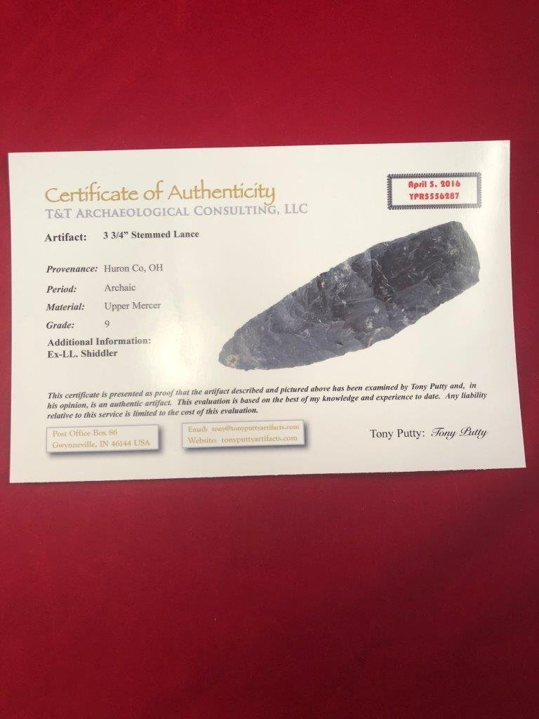 STEMMED LANCE   INDIAN ARTIFACT ARROWHEAD WITH COA - 5