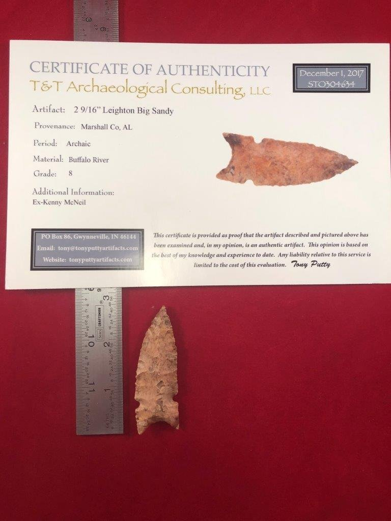 LEIGHTON BIG SANDY  INDIAN ARTIFACT ARROWHEAD WITH COA