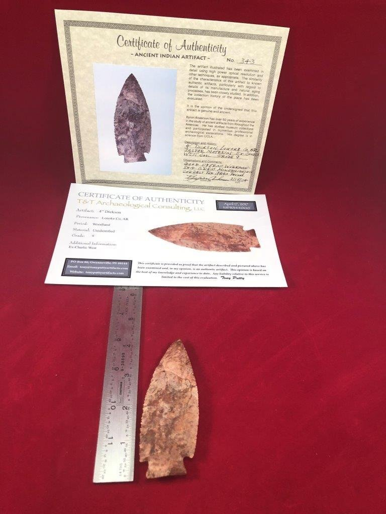 DICKSON  INDIAN ARTIFACT ARROWHEAD WITH 2 COAs