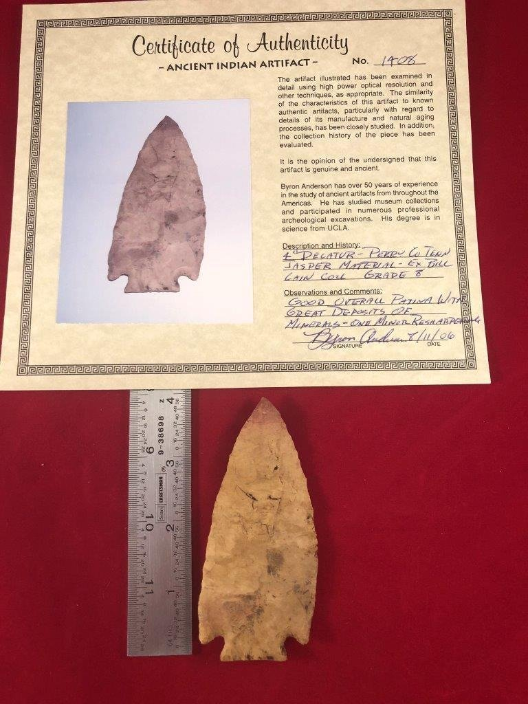 DECATUR  INDIAN ARTIFACT ARROWHEAD WITH  COA
