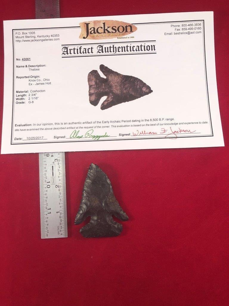 THEBES  INDIAN ARTIFACT ARROWHEAD WITH  COA