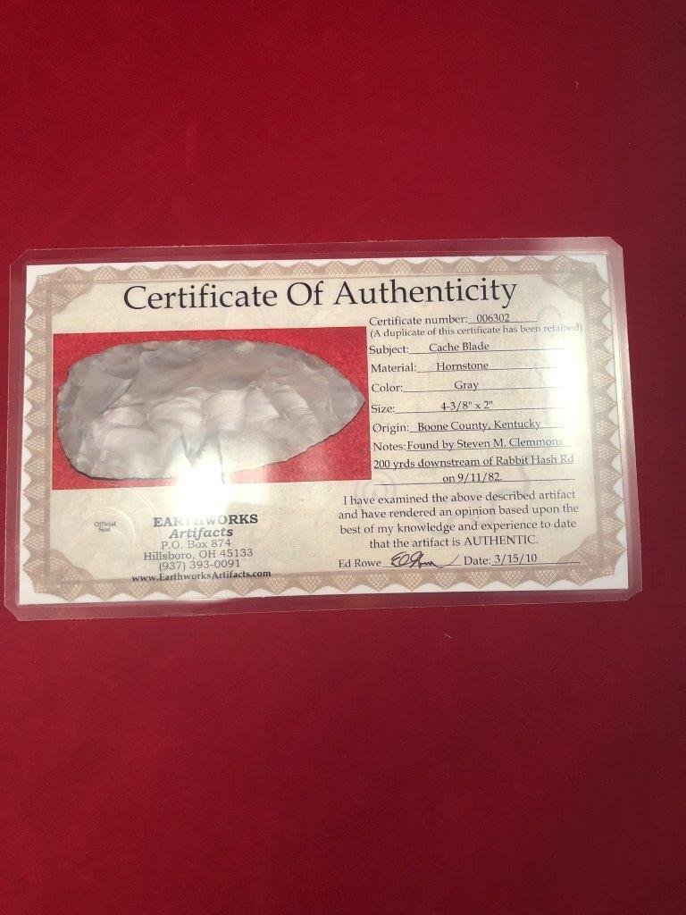 CACHE BLADE    INDIAN  ARTIFACT ARROWHEAD WITH  COA - 5
